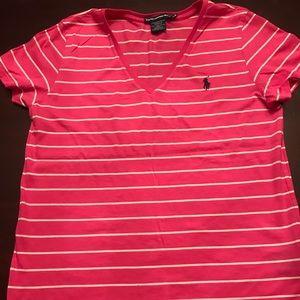EUC Ralph Lauren Sport Pink/White Striped Tee-L